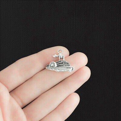 BULK 30 Steamboat Charms Antique Silver Tone Riverboat- SC920