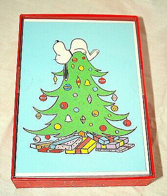 Snoopy Christmas Cards.Graphique Peanuts Snoopy Sleeping On Tree Christmas Cards New Mib Box Of 15