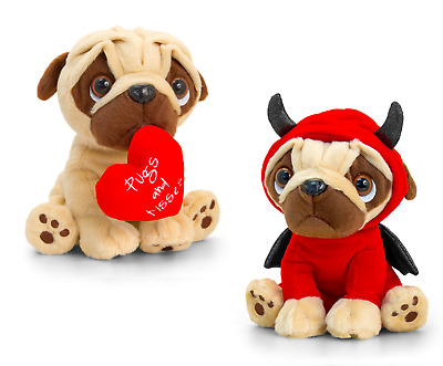 Keel Toys Pugsley 14cm Valentines Pug Dog 2 Designs Cuddly Soft Toy SV2177