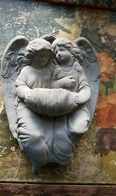 Vintage Cement Angel Hanging Plaque CHERUB Concrete GARDEN ART SCULPTURE POCKET