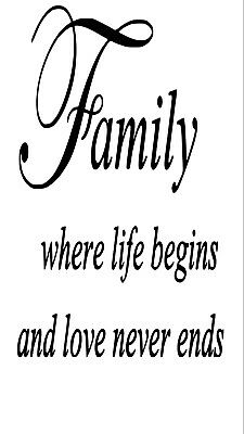 Family Quotation Wine Bottle Decal / Sticker (bottle not included)
