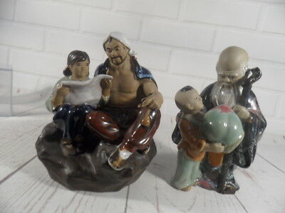 2 x Mud men chinese Shiwan figures -- 7 inch tall approx