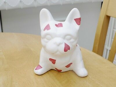 Emma Bridgewater themed French Bulldog Hand decorated in Hearts Pattern