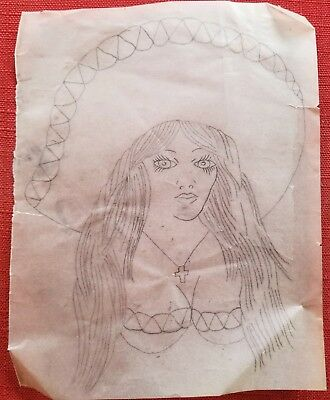 vintage tattoo original chola latina girl on vellum stencil pike bob shaw flash