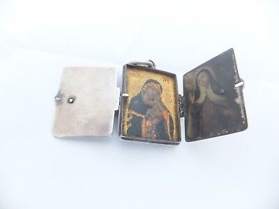 Rare 17th century icon four panel religious portrait miniature silver booklet