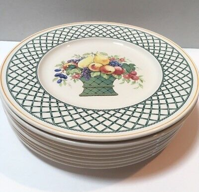 """Lot of 8 Villeroy & Boch Basket 10.5"""" Dinner Plates Germany - Immaculate"""