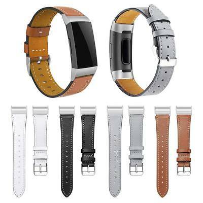 Replacement Leather Watch Band Wrist Strap for Fitbit Charge 3 Smart Bracelet