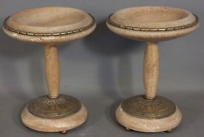 (2) Antique ART DECO Era MARBLE & BRONZED Spelter TAZAS Old FIREPLACE COMPOTE