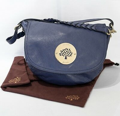6288e0ed3f5 Mulberry Blue Grained Leather Daria Shoulder Satchel Bag +Dustbag 100%  Authentic