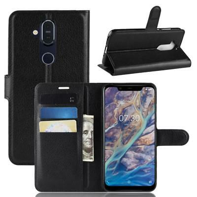 Nokia 7.1 Plus Phone Case Cover Wallet Flip Magnet Bag Bumper Sleeve Protect Bla
