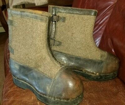 German WW2 SCARCE Winter Sentry Boots / Maker Marked & Dated 1940 / WWII
