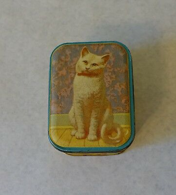 Vintage Cats Yellow & Teal Colored Tin - tag says Camp Verde General Store, TX