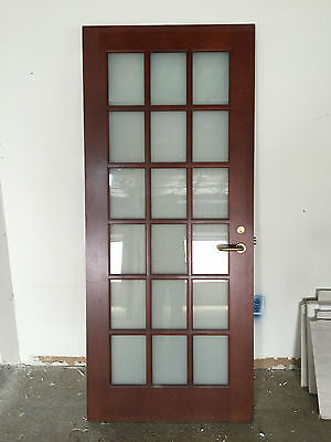 Two Cherry Wood Exectutive Doors 18 Pane w Smoked Glass Architectural Salvage