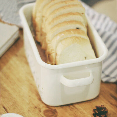 Vintage Style Bread Bin Home Kitchen Retro Food Storage Enamel Bread Box
