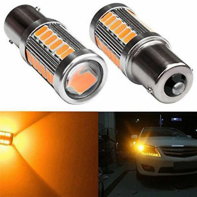 2x Yellow/ Amber 1156 BA15S 5630 33SMD LED Car Backup Reverse Lights from Canada