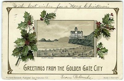 1905 San Francisco Victorian Cliff House~Rare Embossed Christmas Holly Postcard