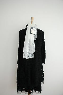 Chanel Fall 42 Elegant Camelia Dress & Coat Black Tie  New with Tags Runway