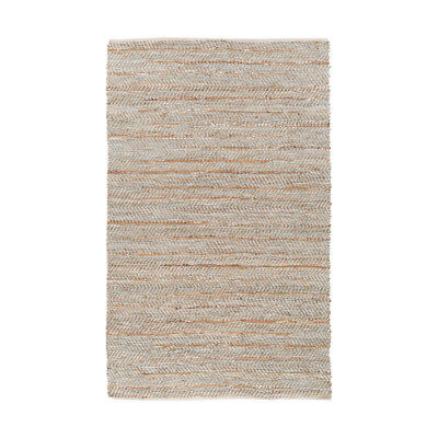 Surya GDE4000-46 Gideon 72 X 48 inch Gray and Silver Area Rug, Jute and Leather