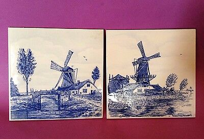 Dutch Windmill Tiles - 2 - Hand Painted Blue And White - Holland Netherlands