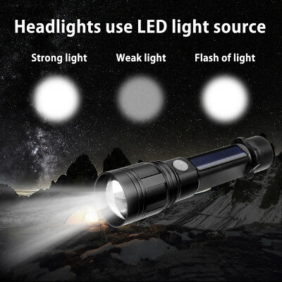 LED Solar Power Flashlight Camping Lamp Light USB Rechargeable Torch Power Bank