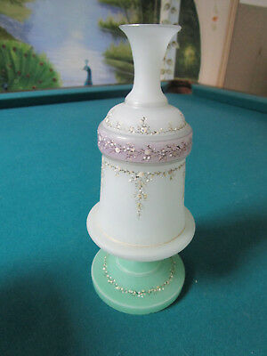 """VICTORIAN FROSTED SATIN GLASS VASE  hand painted and gilt gilded,  9"""""""