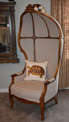 Porter's Chair Cream fabric with Wooden frame Vintage?