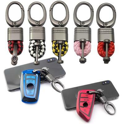 Car Key Fob Remote Braided Faux Leather Gunmetal Metal Snap Keychain Key Ring