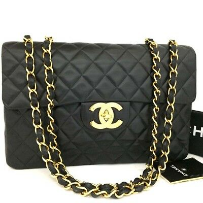 2e924354c6a26d CHANEL Maxi Jumbo 34 Quilted Matelasse XL Lambskin w/Chain Shoulder Bag  /n643