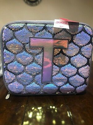 """NWT Justice Mermaid Holographic Sequence """"T"""" Initial Lunch Bag"""