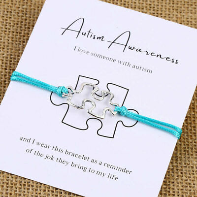 Autism Awareness Bracelet Puzzle Bracelet Friendship Charm Wishing Bracelet
