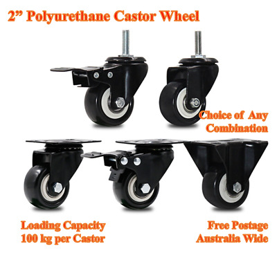 "2"" Polyurethane Castor Wheels,Heavy Duty 100kg Loading,Trolley Bench Table Furni"