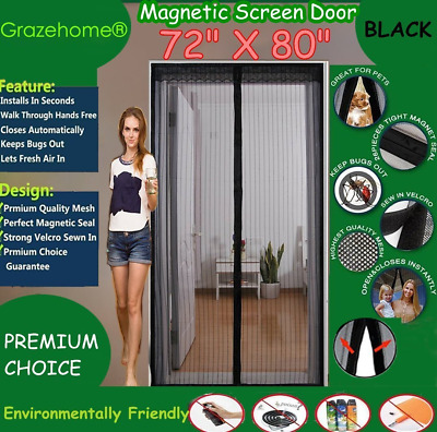 "Magnetic Screen Door 72""(w) X 80""(h) for French Doors/Sliding Glass..."