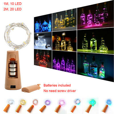 1M 2M 10-20LED Copper Wire Wine Bottle Cork Battery Operated Fairy String Lights
