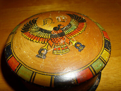 Aztec/inca/antique Small Turned Wood Snuff/ring/pill Box With Handpainted Condor
