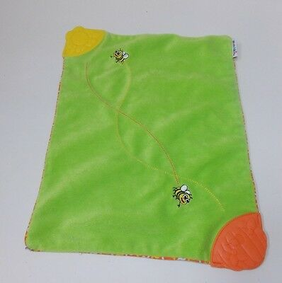 Munchkin Bumble Bee  Security Blanket Lovey Plush Lime Green Satin Teether