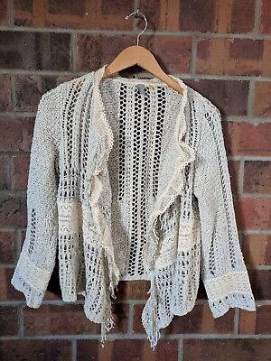 e9787e57c3a7 Anthropologie Grey and Cream Knitted and Knotted Fringe Open Cardi, Size M