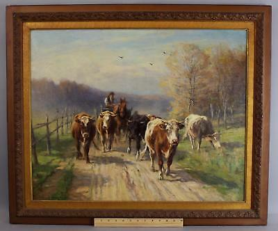 1906 Antique WILLIAM HENRY HOWE Country Cow & Farmer Landscape Oil Painting NR