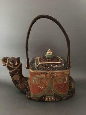 ANTIQUE VTG JAPANESE 1930's SATSUMA MORIAGE GOLD GILT PORCELAIN CAMEL TEA POT