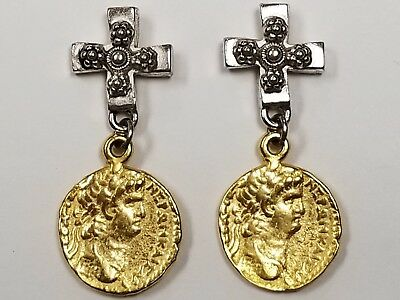 C Stein Catherine Stein Silver & Gold Tone Ancient Coin Cross Dangle Earrings