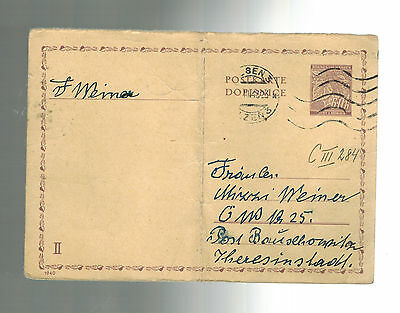 1943 Germany Theresienstadt Inter Concentration Camp Postcard Cover Mizzi Weiner
