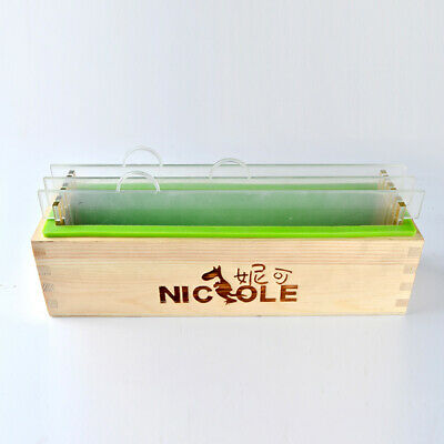 Rectangle Loaf Silicone Soap Mold Wooden Box Vertical Rendering Separator 1500g
