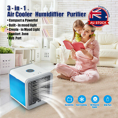 Mini Portable Air Conditioner Air Cooler USB LED Personal Desk Cooling Fan A