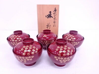 3974389: Japanese Red Lacquered / Lidded Soup Bowl Set Of 5