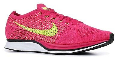 new concept 85952 22fde Nike Flyknit Racer Sz 11 Fireberry Pink Flash Volt Oreo Running Shoes  526628 607