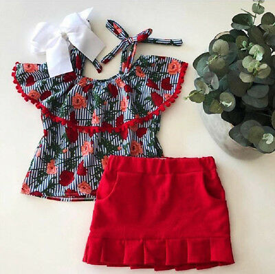 Canis Toddler Kids Baby Girl Summer Floral Stripe Tops Skirt Outfits Set Clothes