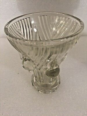 Vase coupe verre moulé a decor de boules grappe art déco 1900