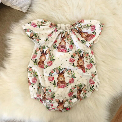 Easter Newborn Baby Girls Bunny Flowers Romper Jumpsuit Outfits Clothes Summer