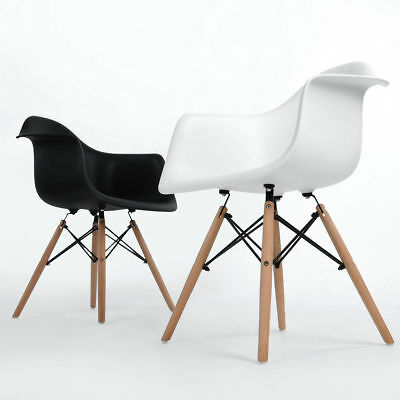 Set of 2 Retro Plastic Armchair Kitchen Dining Chair Stools Lounge Office Chair