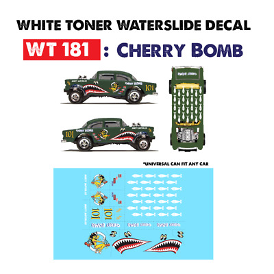 WT181 White Toner Waterslide Decals > CHERRY BOMB >For Custom 1:64 Hot Wheels