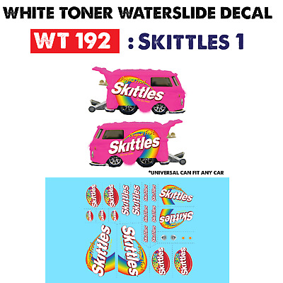 WT192 White Toner Waterslide Decals> SKITTLES1 > For Custom 1:64 Hot Wheels
